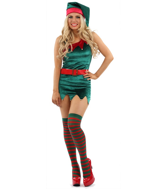 Santa s Sexy Helper will be top of the nice list! Our sexy Elf costume  features a green velvet mini dress with a sawn tooth red trim and a hem  with tiny red ... 8809d07e7257